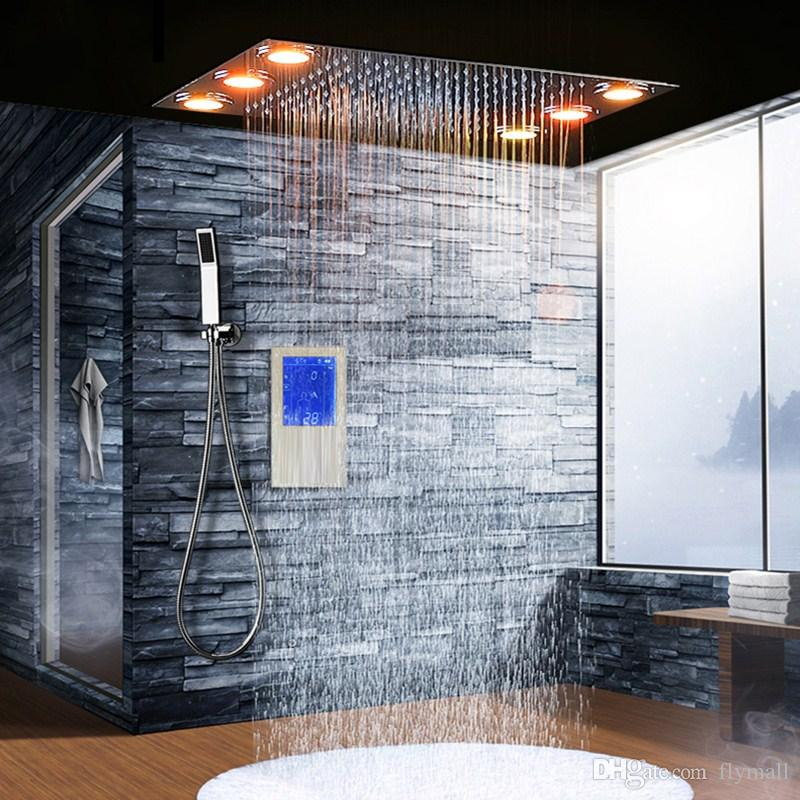 Digital Thermostatic Shower Set Controller Touch Control Panel Modern European Style SUS304 Rainfall Bathroom Led Ceiling Shower