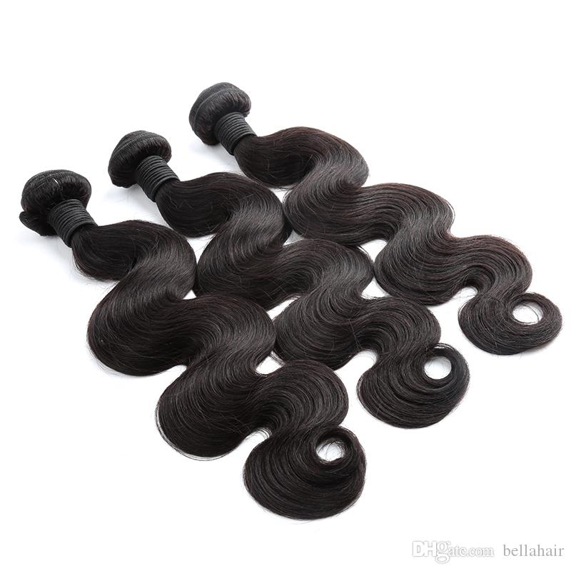 "Indian Virgin Human Human Bundles 10 ""-28"" O corpo onda corporal extensões de cabelo humano tecemos cor natural não transformada cabelo humano penteado Bellahair"