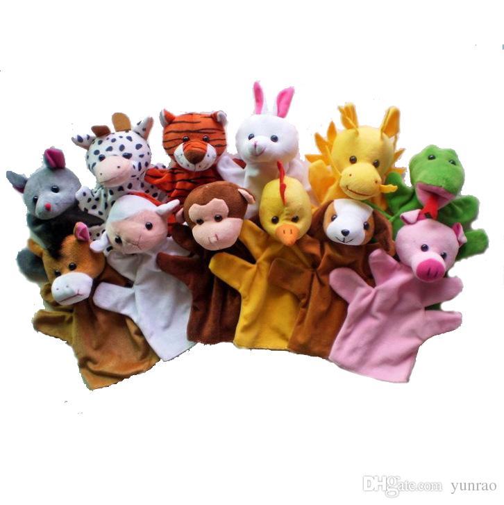 12 Unids / lote Marionetas De Mano Divertidas Para Niños Felpa Marionetas De Mano En Venta Estilo Chino Del Zodiaco Marionetas De Mano De Dibujos Animados De Gran Tamaño