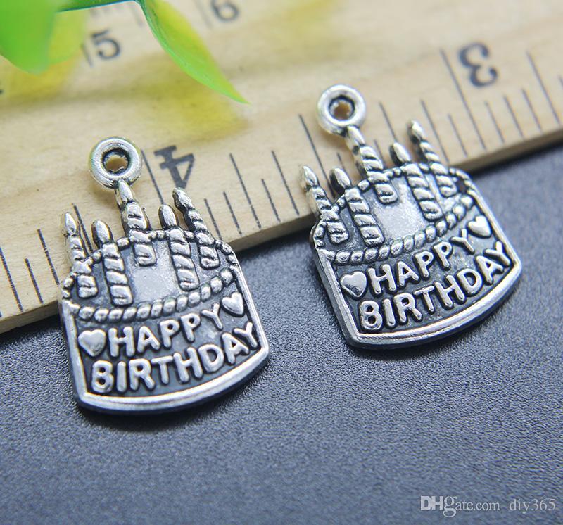 Großhandel 100 stücke Geburtstag Kuchen Legierung Bezaubert Anhänger Retro Schmuck Machen DIY Keychain Alte Silber Anhänger Für Armband Ohrringe 22 * 15mm
