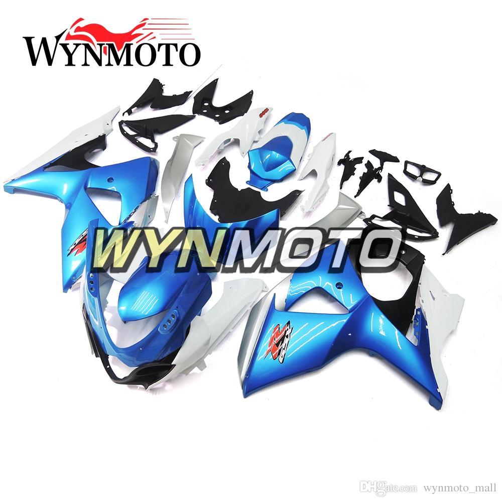 Weiß Blau Komplette Verkleidungen Sportbike CoversFor Suzuki GSXR1000 K9 Baujahr 2009 10 11 12 13 14 15 2016 ABS Einspritzkörperrahmen
