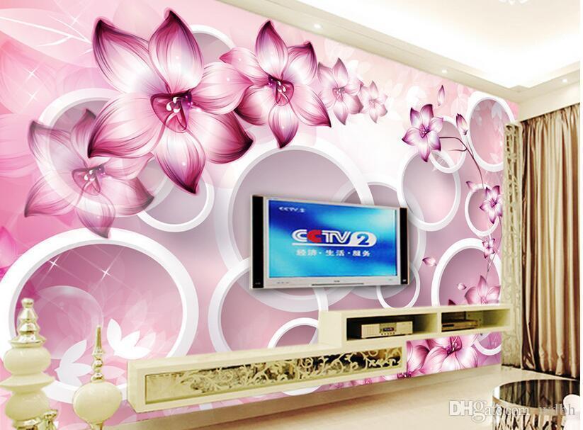 3d wallpaper benutzerdefinierte fototapete Fantasy blume kreis TV hintergrund wand zimmer dekoration 3d wandbilder wallpaper für wände 3 d