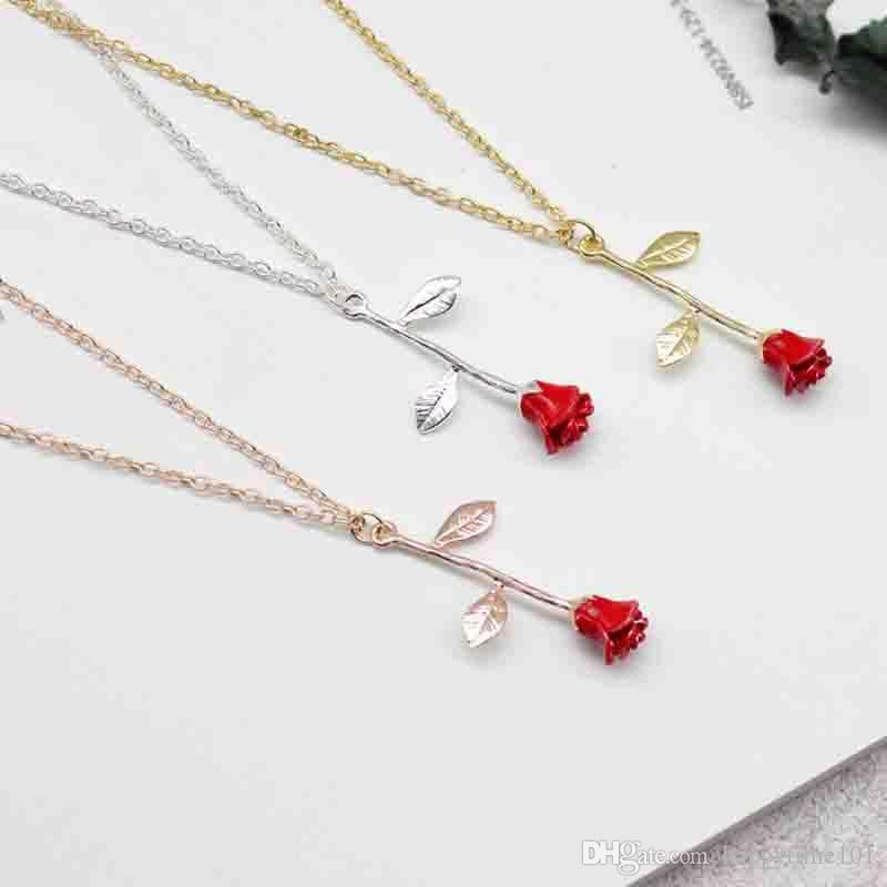 Red Acrylic Diamond Alloy Metal Rose Flower Pendant Chain Necklace