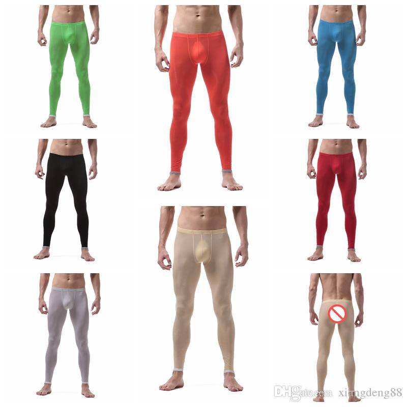 Mens Breathable Thermal Long Johns Slim Tight Ice Silk Warm Stretch Legging Trousers Autumn Ultra Thin Underwear Long Pants