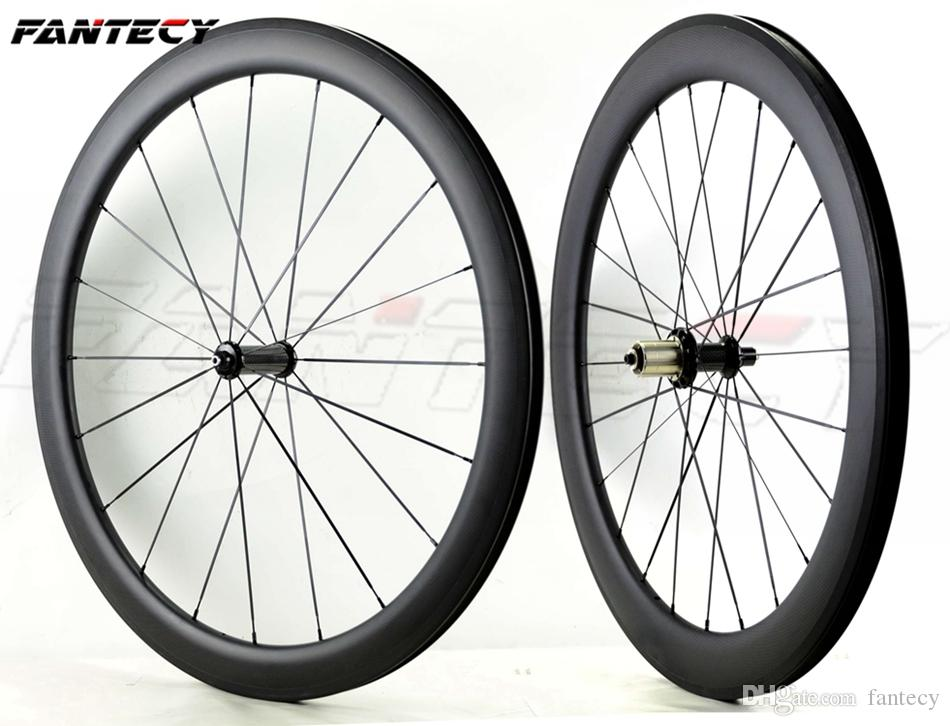 FANTECY 700C Front 50mm Rear 60mm depth full carbon wheels 25mm width road bike wheelset UD matte finish clincher with straight pull hubs