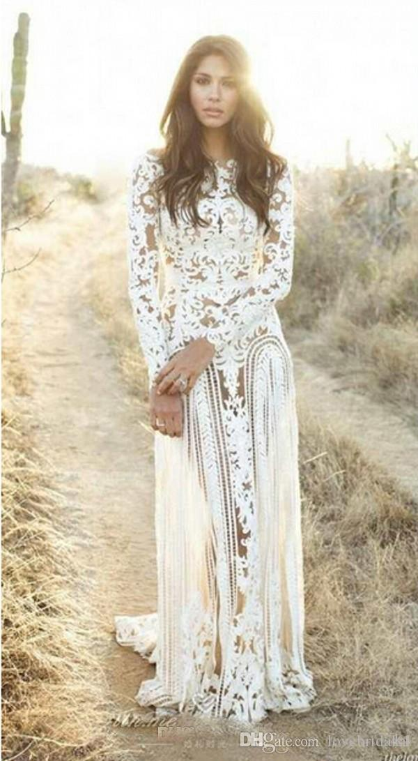 Romantic Full Lace Sheer Wedding Dresses With Floor Length Appliques Spring Long Sleeves Bridal Gowns Custom Made