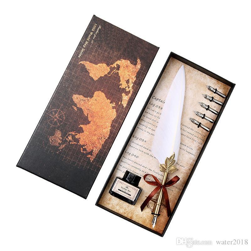 Ausgezeichnetes Antike Quill Feder Dip Pen Schreibtinte Set Briefpapier-Geschenk-Box mit 5 Nib Wedding Gift Quill Pen Füllfederhalter 484