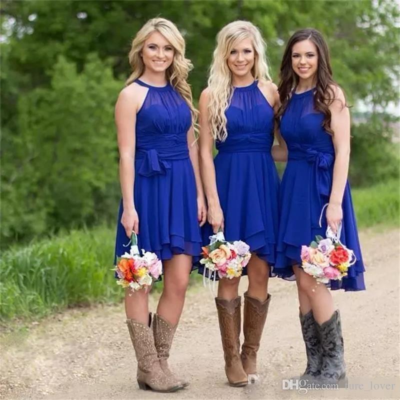 2018 Скромный Короткие Платья Невесты Королевский Синий Холтер Шеи До Колен Рябить Шифон Плюс Размер Страна Свадебные Платья Дешевые