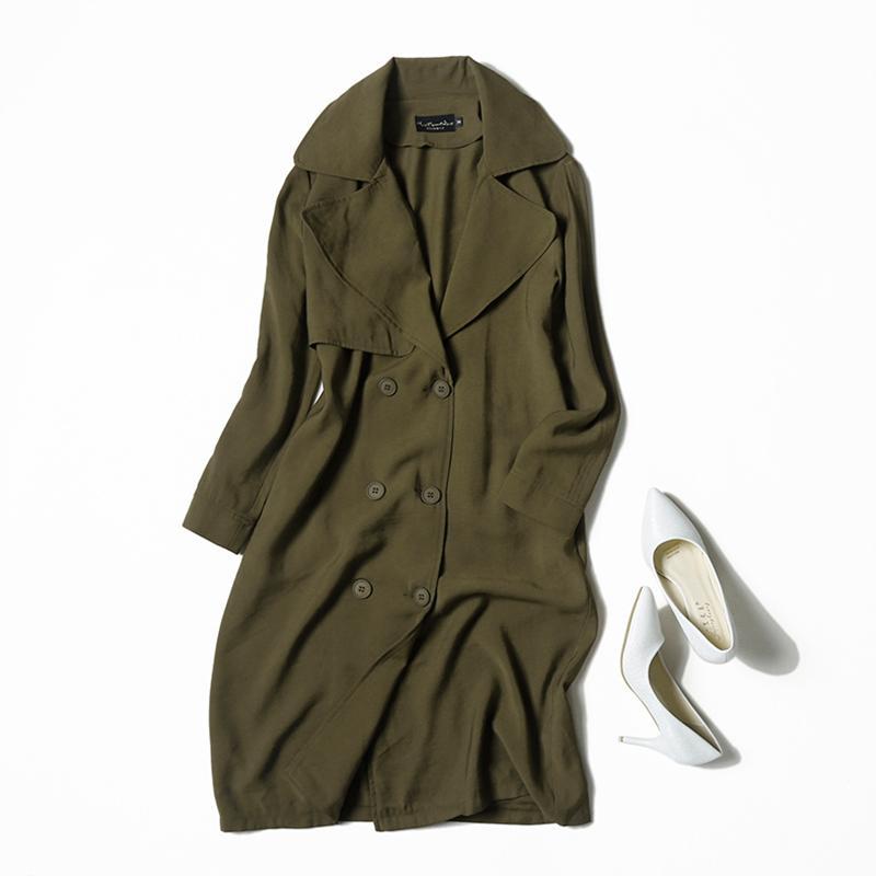 Veydu Automne Femmes Long Pardessus Tourner à col double boutonnage en vrac Trench Femme Outwear Vêtements décontractés Streetwear