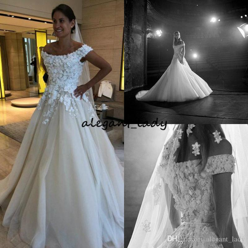 2018 Elie Saab A Line Wedding Dresses Off Shoulder Lace 3D Floral Appliques Pearls Country Wedding Dress Custom Made Belt Bridal Gowns