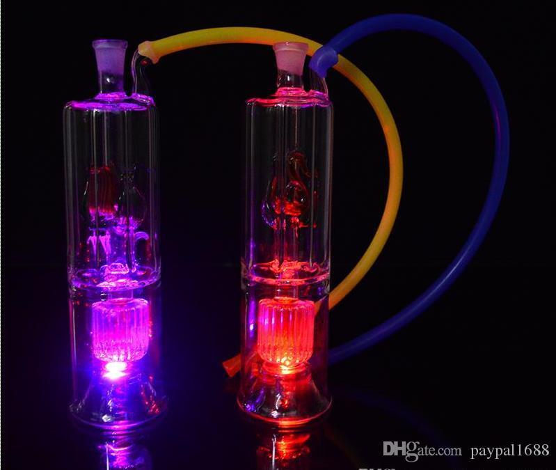 Bölme filtresi cam su şişesi Su Boruları Bongs LED Cam Nargile Yağ Concerntrate Bubblers Yağı Rig