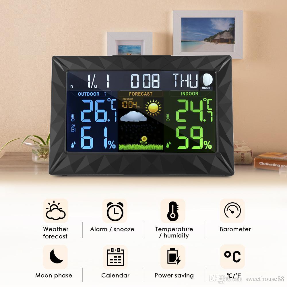 Color Weather Station Alarm Clock Wireless Sensor Forecast Temperature Humidity
