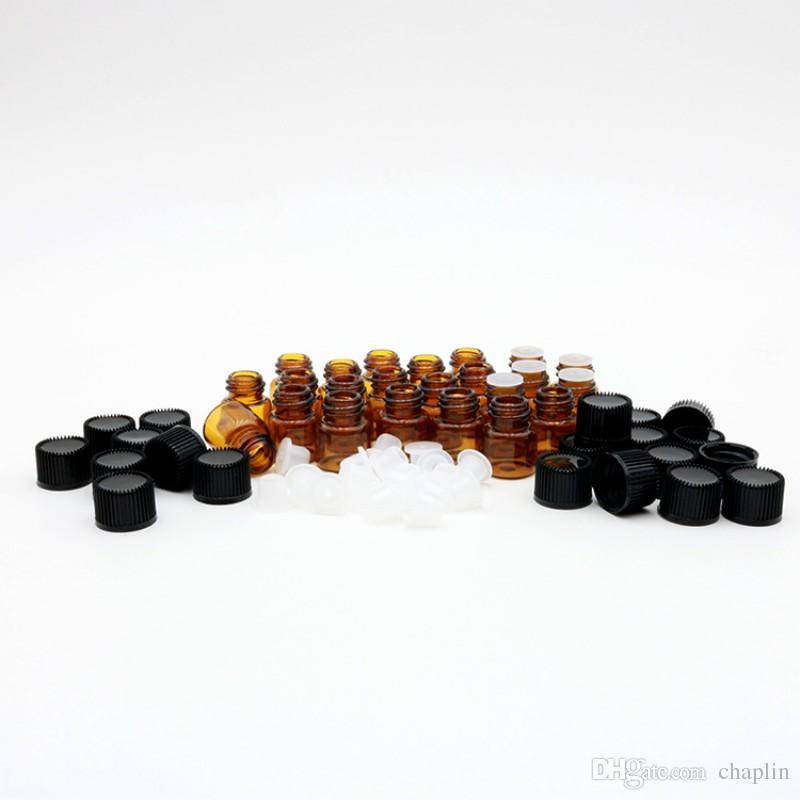 2ml amber cam şişesi için uçucu yağlar, aromaterapi, koku, orifis redüktör ve damlalık üstü