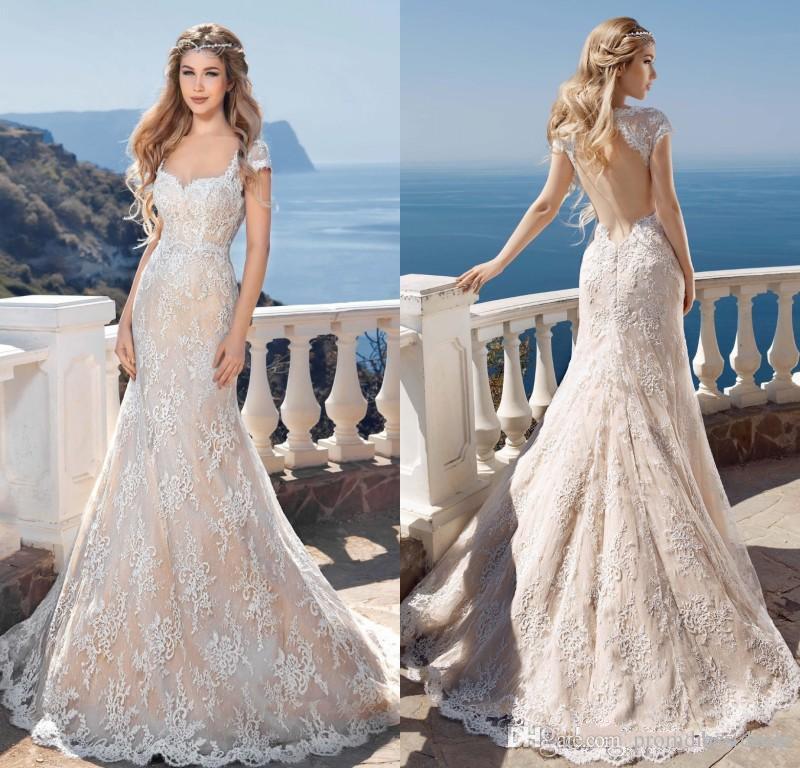 Elegant Beach Wedding Dresses 2019 Appliques Lace Beaded Mermaid Bridal Gown Boho Marry Party Gown vestido de novia