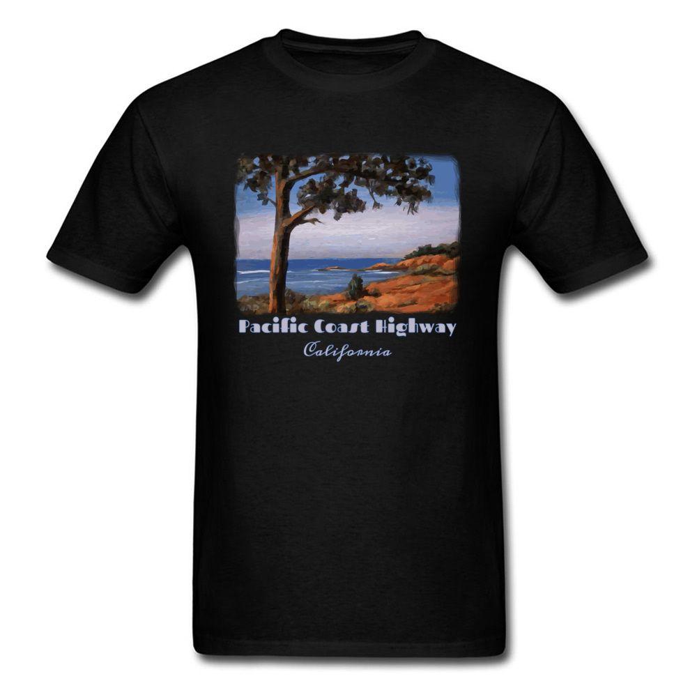 Праздник стиль футболка для человека футболка черная футболка Pacific Highway топы Калифорния печатных тройники взрослый плюс размер одежды