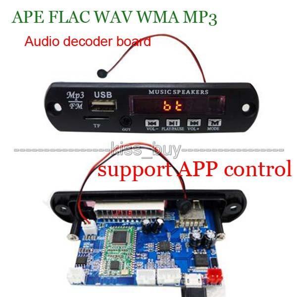 Freeshipping Bluetooth 4.0 MP3 декодирование модуль платы digita lLED 12 В APE FLAC WAV DAE декодер MP3-плеер AUX FM-радио телефон App управления