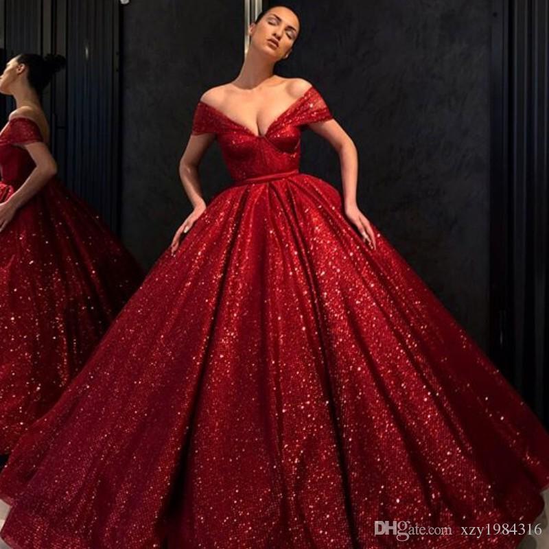 Sparkly Red Pailletten Abendkleider Glamorous weg von der Schulter Sleeveless Reißverschluss-Rückseite Party Kleider Fashion Fluffy Dubai Promi Abendkleid
