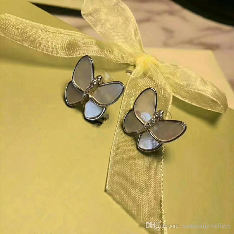 High quality brand butterfly earrings Seashell female earrings Fashion small diamond earrings jewelry Free shipping