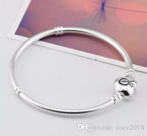 Marca 925 Argento cuore catenaccio perline 3mm bracciali catena serpente misura europeo Pandora cuore Charms Bracciale originale gioielli moda fai da te