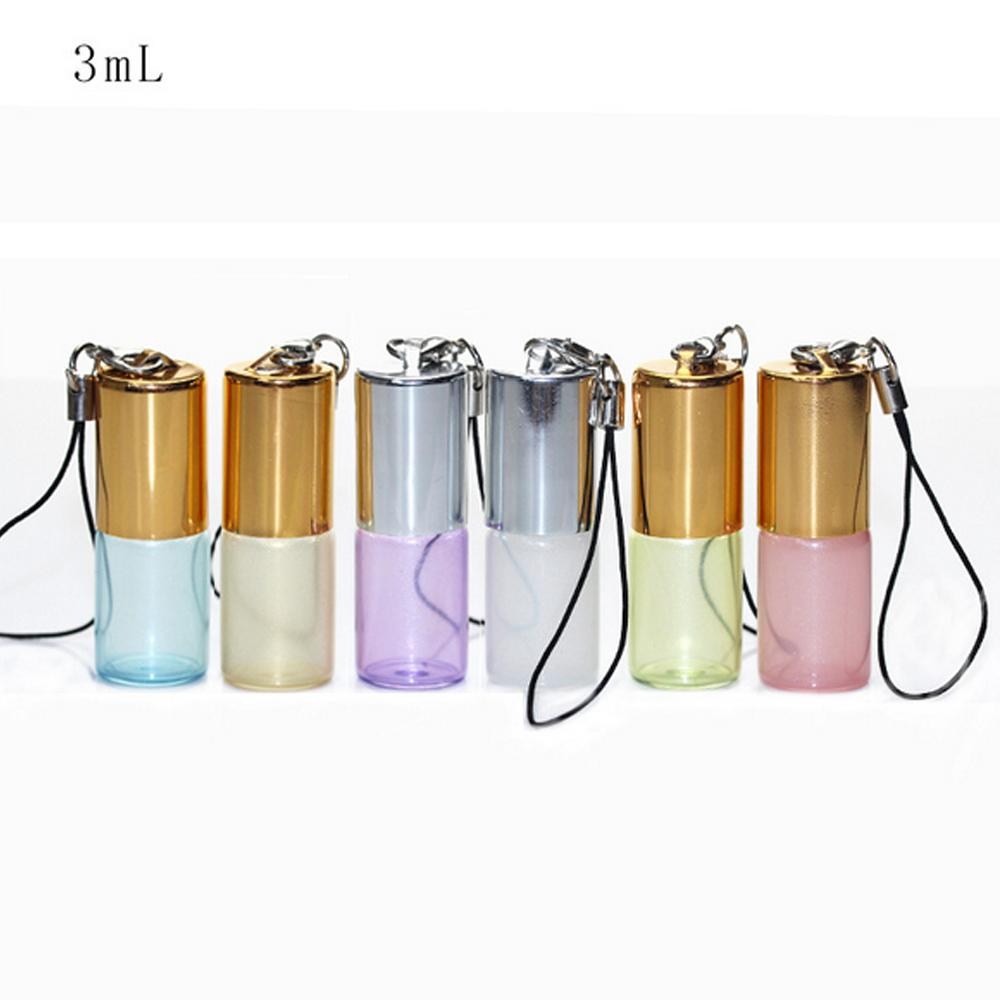 3ml Pendant Pearl Lustre Color Rollon Metal Roller Ball Bottle Essential Oil Empty Perfume Glass Vials Key Chain Glass Roller Bottles