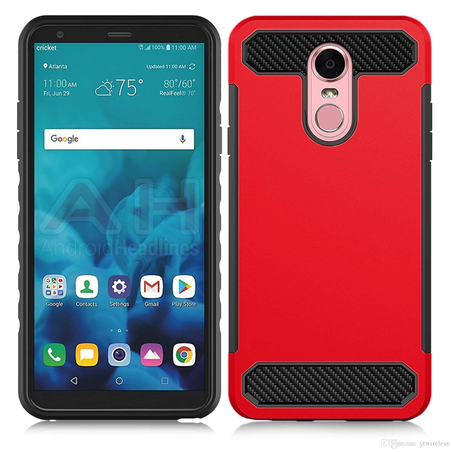 For Lg K10 2018 Aristo 2 V30 G6 Stylo 3 Q7 Plus Carbon Fiber Textured Rugged Tpu Pc Hybrid Case Can Print Logo Oem Design Printing Accept Cool Cell Phone Cases Customized Cell