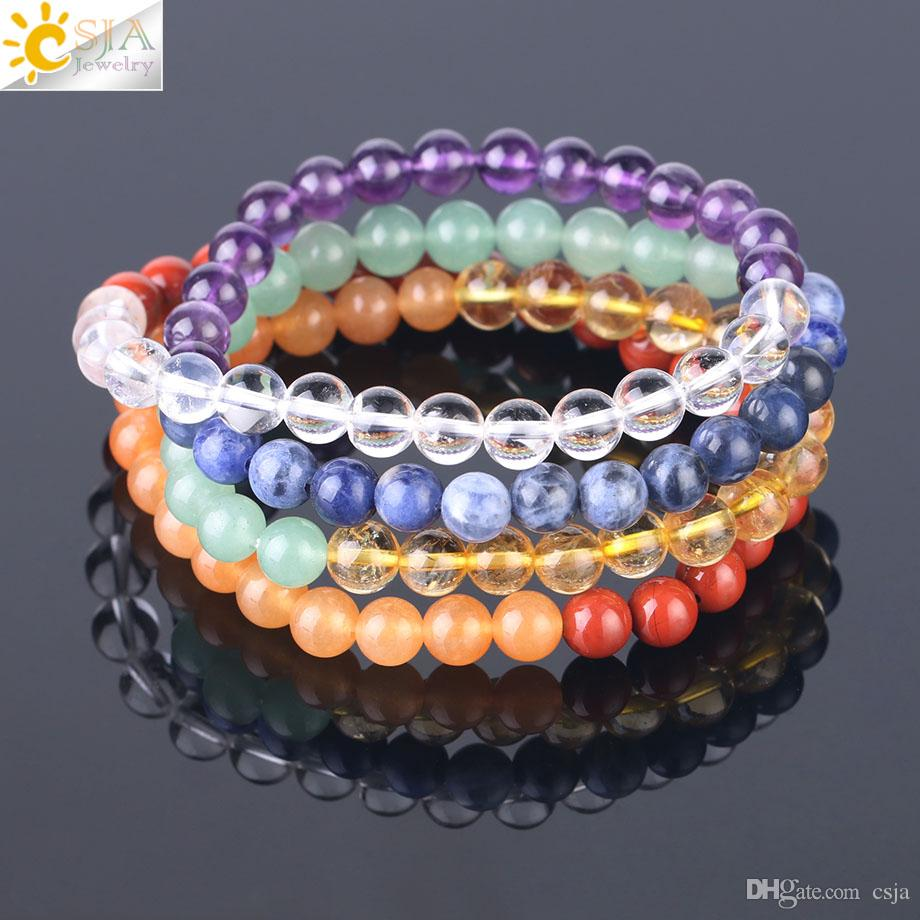 CSJA 7 Chakras Strand Bracelets Natural Rainbow Gemstone 108 Mala Beads Bracelet for Women High Class Yoga Meditation Healing Jewelry F533