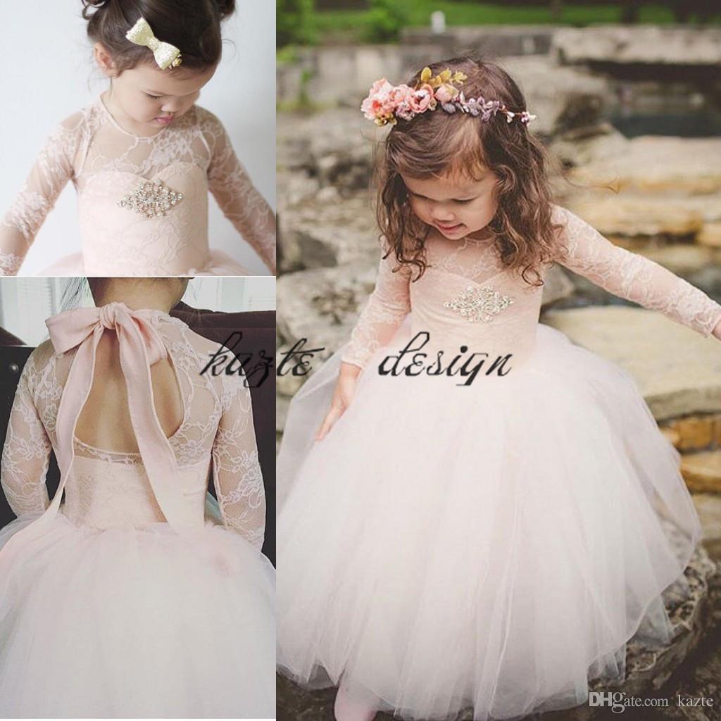Blush Dentelle Tutu Petite Pricess Fleur Filles Robes avec manches longues 2018 Toddler Infant Anniversaire Communion Pageant Robe De Fête De Mariage