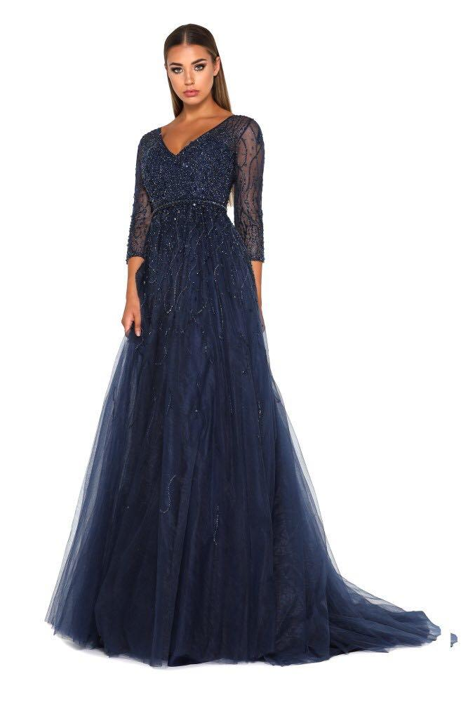 Custom made 2018 Navy BLue Beaded Prom Dresses 3/4 Sleeve Length Tulle African Girl Party Evening Gowns