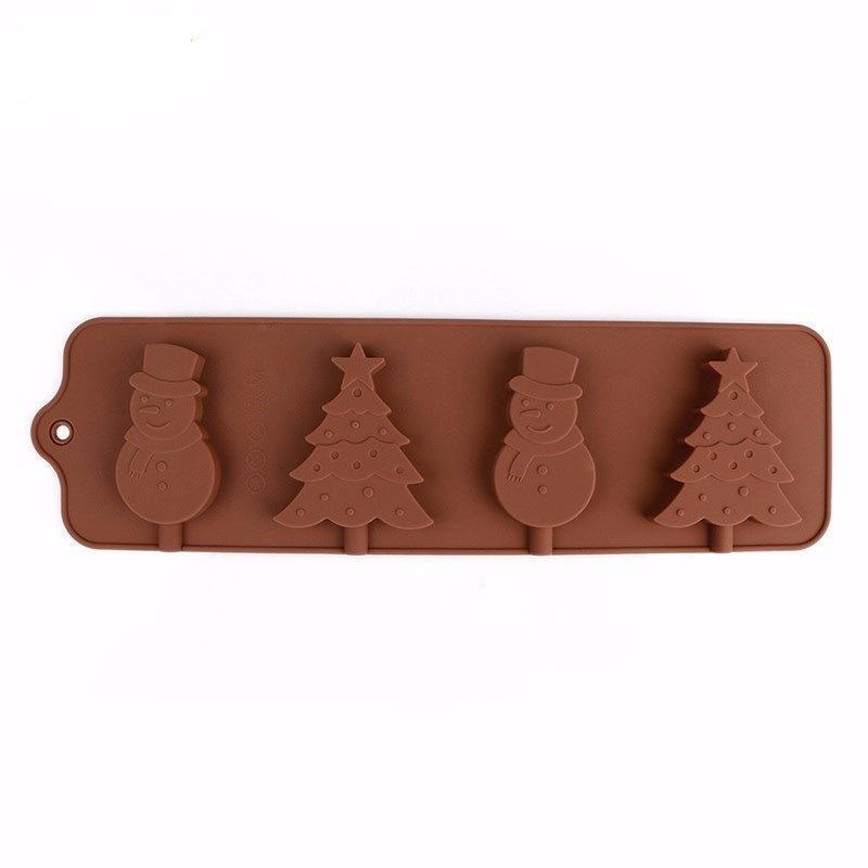 جديد diy الخبز العفن 4 حفرة ، شجرة عيد الميلاد ، ثلج ، مصاصة العفن ، الشوكولاته العفن فندان أدوات تزيين الكعكة المعجنات
