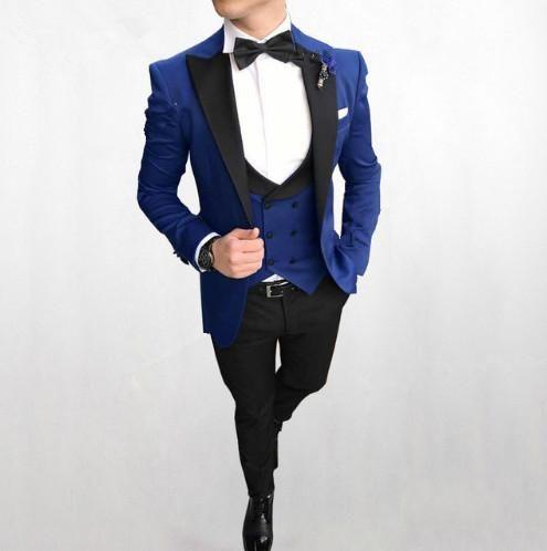 Venta caliente con un solo botón Royal Royal Wedding Groom Tuxedos Peak Lapel Groomsmen Mens Dinner Chaqueta Trajes (Chaqueta + Pantalones + Chaleco + Corbata) NO: 1511