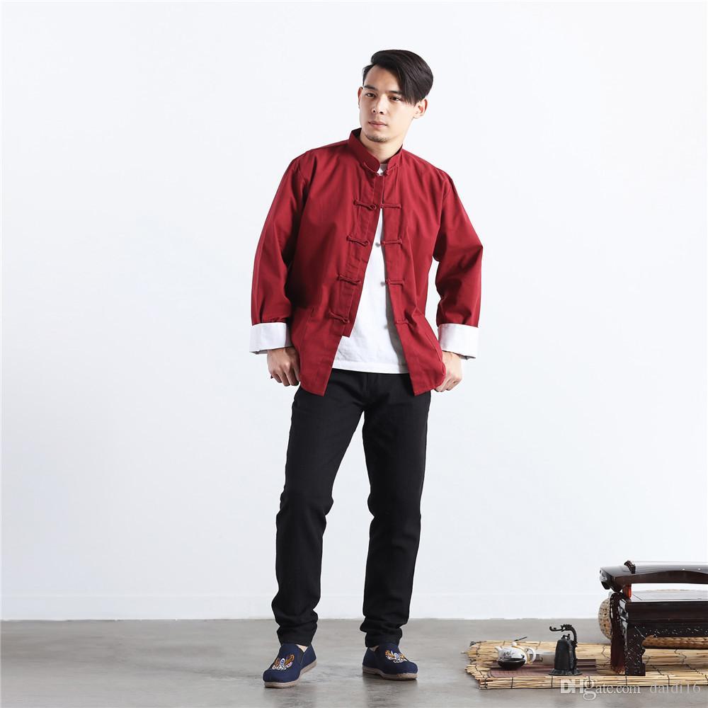 Linge de costume traditionnel chinois Tang Costume Haut Kung Fu Tai Chi Uniforme Printemps Automne Chemise Chemisier Manteau MartialArt pour Hommes