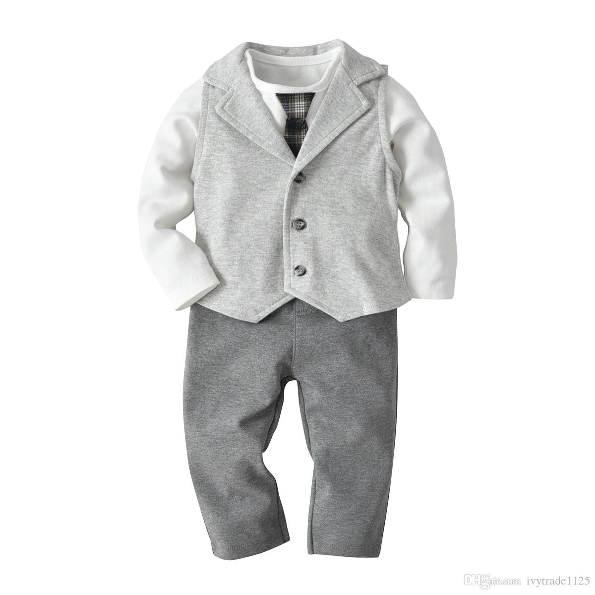 kids boy gentleman clothing sets turn collar solid color romper + pants +vest 100% cotton boy kids spring fall clothing two pieces sets