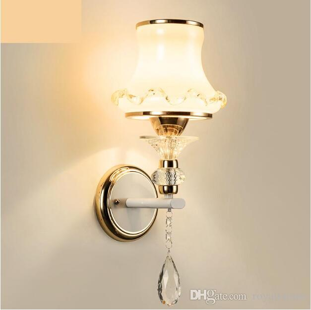 SVITZ Hallway 1-2 Head Indoor Glass Wall Lamps With Glass Cover shade Aisle Modern Wall Mounted E27 Led Sconce Wandlamp mirror light