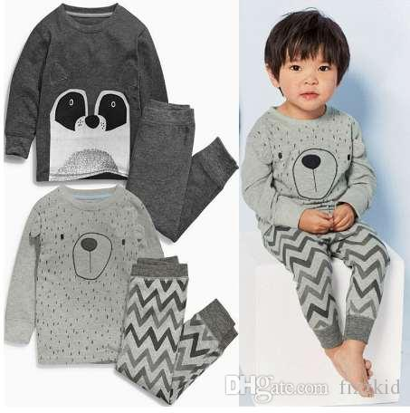 Новые дети мальчик с длинным рукавом медведь топы + брюки 2 шт пижамы пижамы пижамы пижамы Pjs одежда наборы