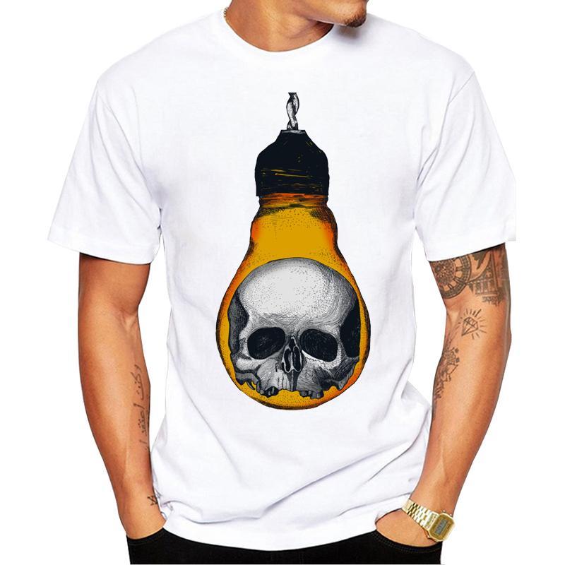 참신 패션 짧은 소매 두개골 빛 인쇄 남성 티셔츠 멋진 디자인 남성 편안한 탑 캐주얼 두개골 남성 T 셔츠