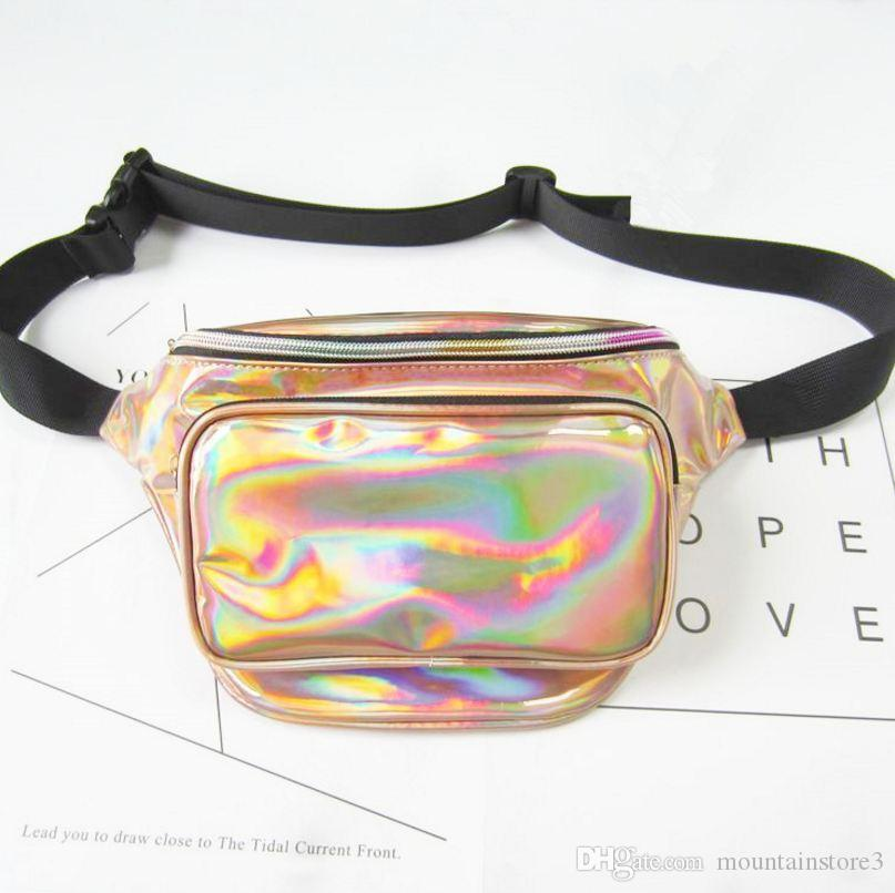New Coming Fashion New Men Laser Waist Bag Leather Belt Waterproof Bag Phone Women Thighbags Fanny Pack Holographic Leg Bag (9-Color)