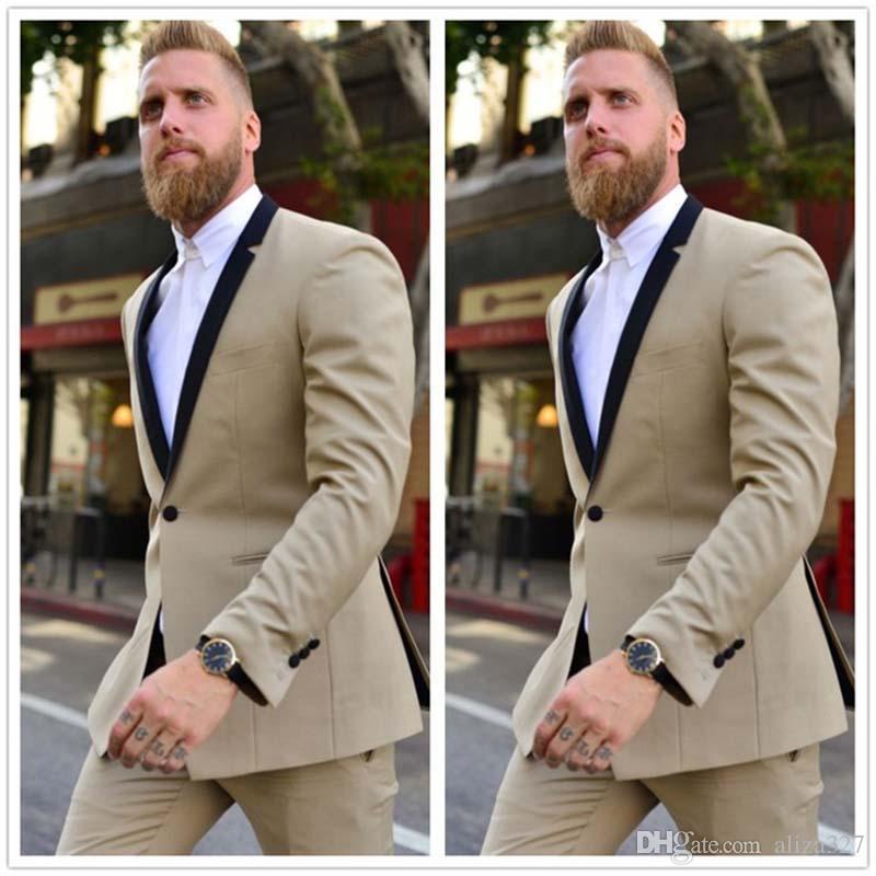 Champagne One Button Groom traje de hombre esmoquin vestidos de boda de la boda trajes para hombre Slim Fit desgaste del padrino de boda por encargo dos piezas