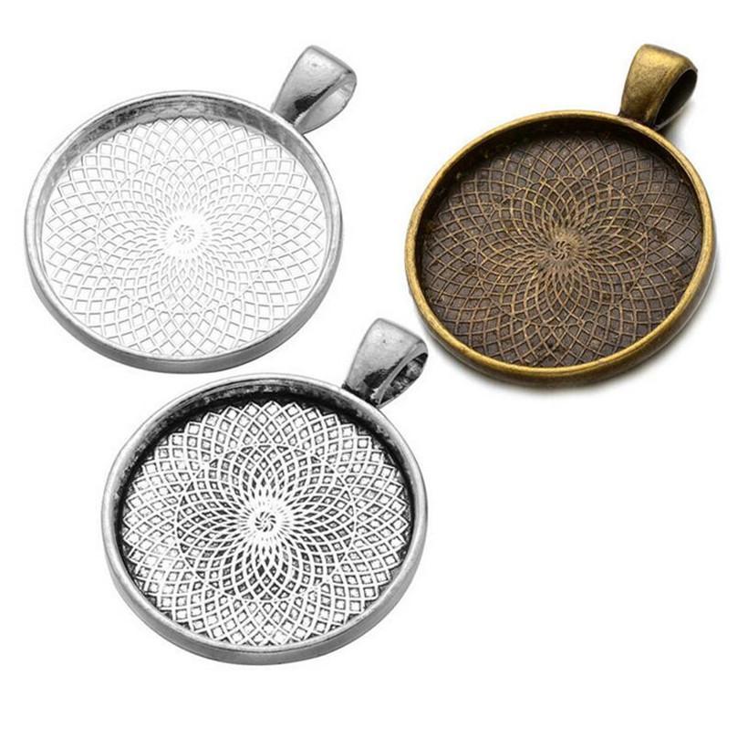 10 قطع الفضة مطلي قلادة المعلقات إعداد كابوشون حجاب قاعدة صينية مدي فارغة صالح 25 ملليمتر كبوشن مجوهرات جعل نتائج