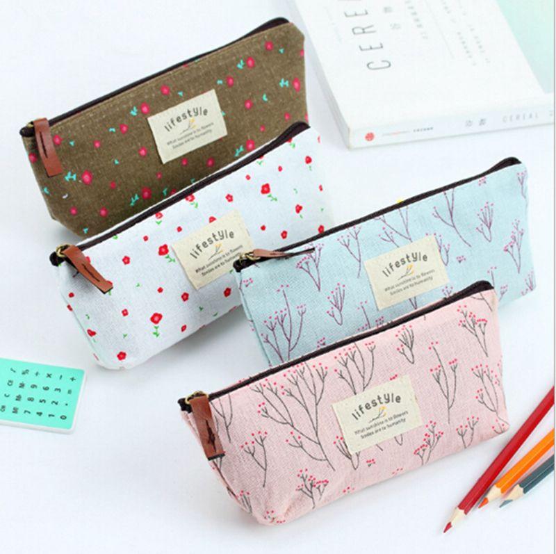 Trousse de maquillage cosmétique de crayon de stylo floral de fleur de campagne mignonne petit sac cosmétique de lavage sacs de lavage 4 couleurs
