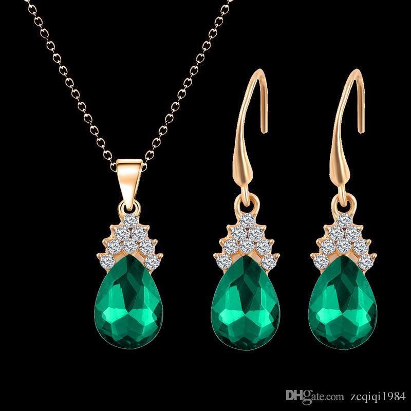 الكريستال الماس قطرة الماء قلادة أقراط مجموعات سلسلة ذهبية قلادة للنساء أزياء الزفاف مجموعات مجوهرات هدية