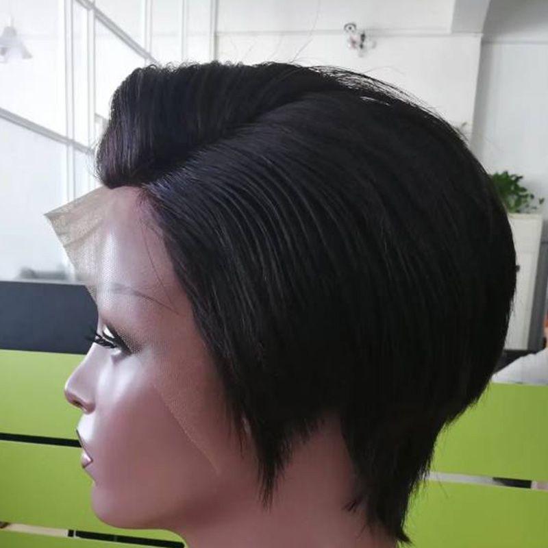 Pelucas de cabello humano recto frente del cordón Pantalones cortos de corte del duendecillo barato con pelo del bebé Pelucas de estilo brasileño femenino brasileño del corte del pelo para mujeres negras
