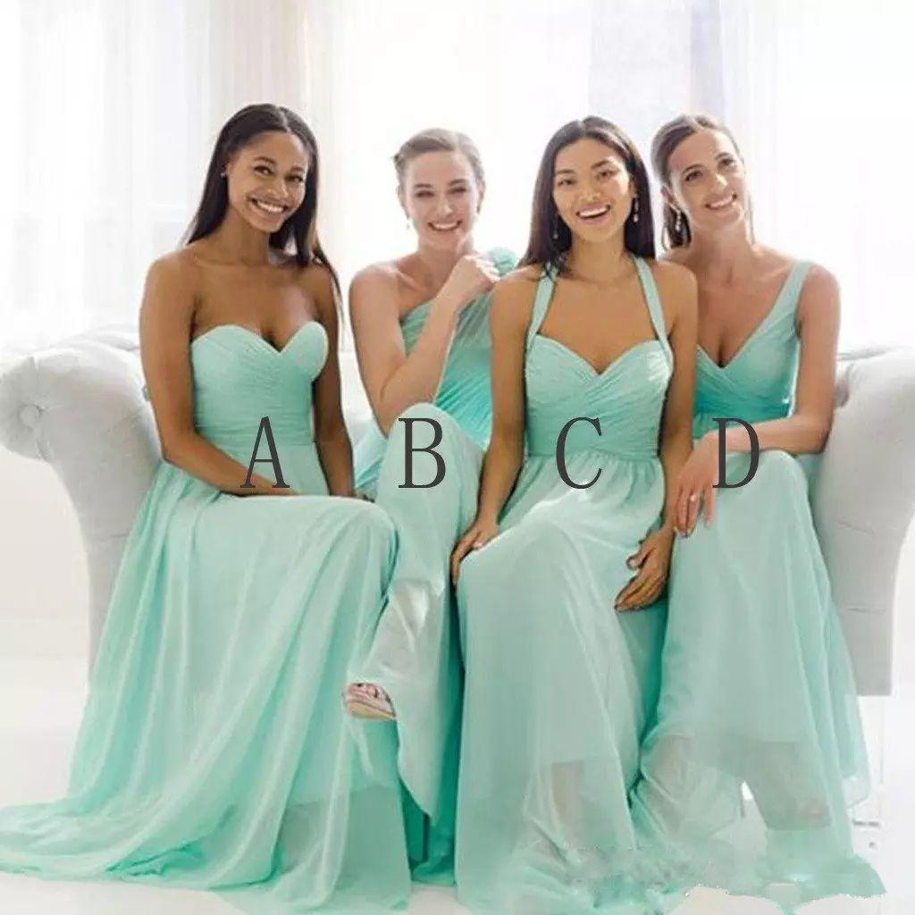 Großhandel 9 Elegante Mintgrün Lange Brautjungfern Kleider Designer  Chiffon Empire Taille Geraffte Bodenlangen Hochzeitsgast Abendkleider Von