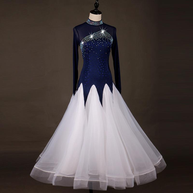 Sparkly Crystals Popular Modern Dance Dresses For Women Blue White Color Lace Skirt Clothes Female Waltz/tango/ Ballroom Dress
