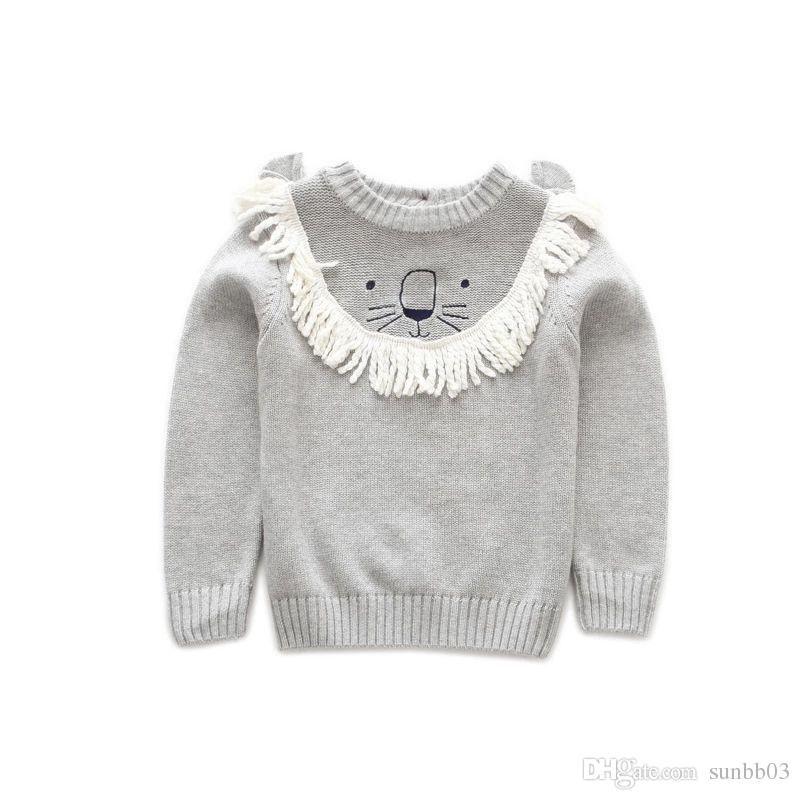 New Autumn Winter Baby Girls Boys Sweater Kids Cartoon Lion Knitted Pullovers Jumper Tops Boy Knitwear Child Cotton Sweaters 4204