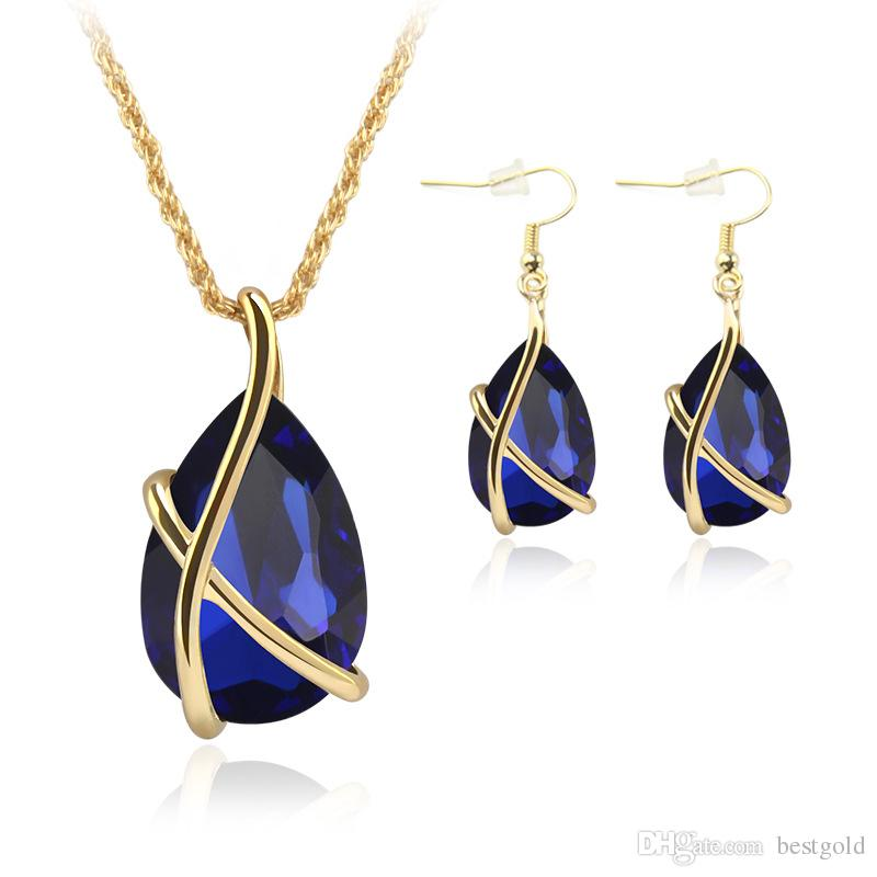 Sapphire Jewelry Gold Plated Necklace Set Fashion Celtic Diamond Wedding Bridal Costume Jewelry Sets Party Jewelrys (Necklace + Earrings)