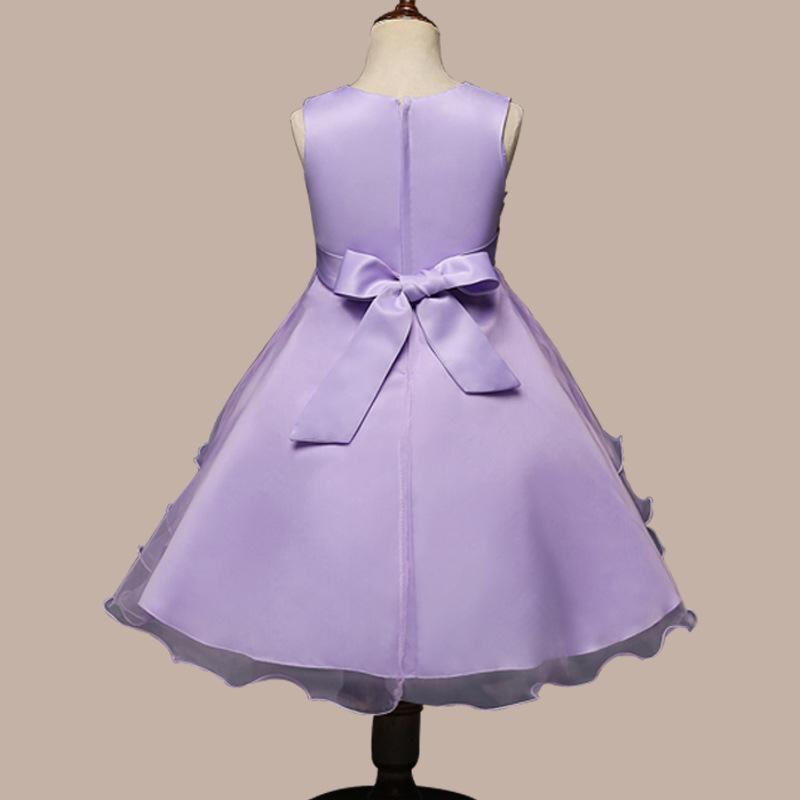 Avrupa ve Amerikan küçük ve orta boy çocuk kolsuz kemer çiçekler net tül elbise doğum günü elbise Yeni stil