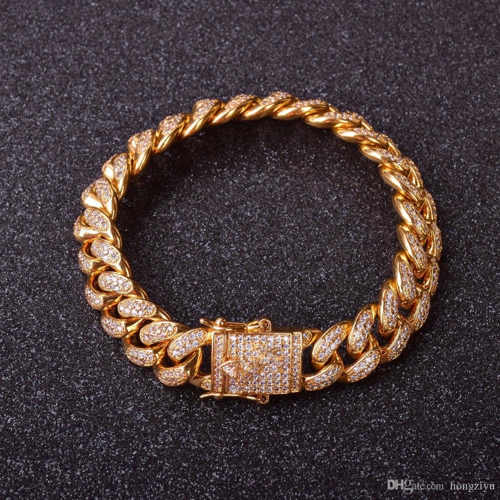 12 millimetri di ghiaccio Top Moda Uomo cubano Bracciale Hip Hop gioielli d'oro colori fuori cubico zircone Curb materiale di rame fuori ghiacciato Cz 20 centimetri Catena