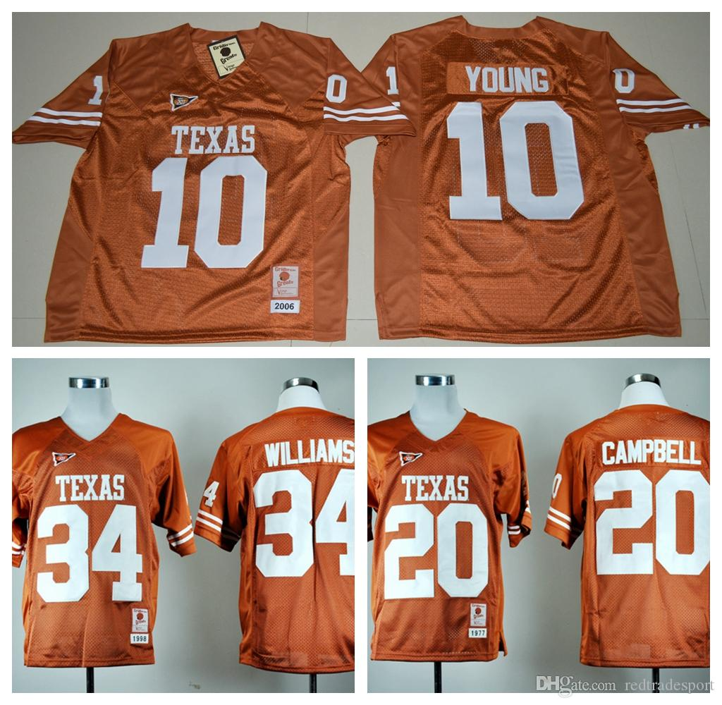 separation shoes f5588 0ec18 2019 Vintage Texas Longhorns College Football Jerseys Cheap 10 Vince Young  34 Ricky Williams 20 Earl Campbell University Football Shirts M XXXL From  ...