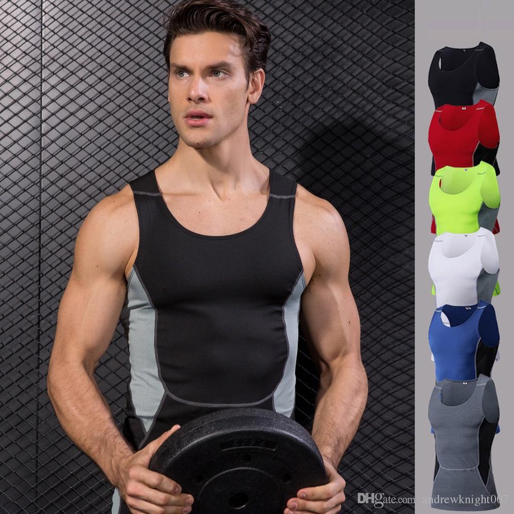Män Kompression Fitness Tights Tank Top Snabbt Torka Ärmlös T-shirts Gym Yoga Vest DK7722KSG