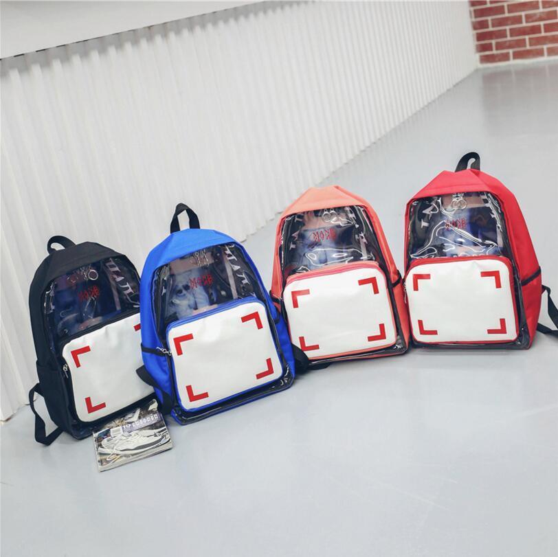 Frauen Transparent Klar Kunststoff Rucksack Teenager PVC Mädchen Jugend Schule Schultern Tasche Damen Reisen ourdoor Taschen 4styles FFA254